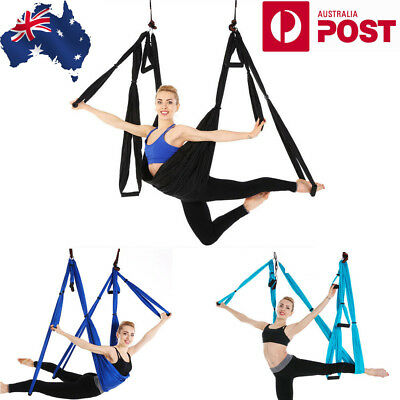 Aerial Yoga Hammock Home Gym Anti-Gravity Sling Swing Trapeze Invertion Fitness