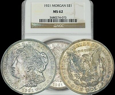 1921 Morgan Silver Dollar NGC MS62 Gold Color Toned Coin