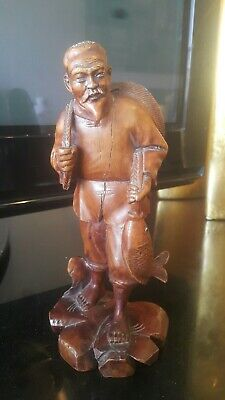 Vintage Chinese wood carved Figure man fishing