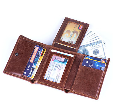 RFID Blocking Genuine Cowhide Leather Trifold Card Wallet for Men With 2 ID