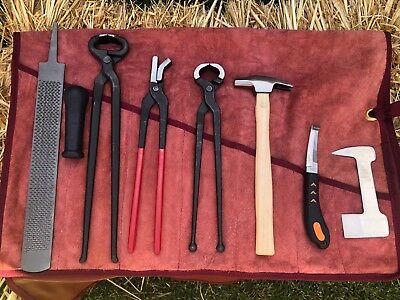 Jumbo Farrier Tool Kit/set/roll In A Soft Leather Pouch ~ 9 Pieces