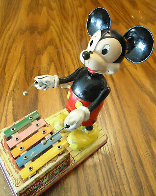 Vintage 1950's Marx Linemar Japan Xylophone Mickey Mouse Tin Wind Up Toy Disney