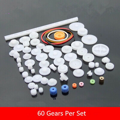 60Pcs/Set Plastic Gears DIY Gear Kits Model Accessories For Toy Car Robot Moto