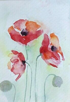 original watercolor painting ACEO on paper garden poppies flowers floral home