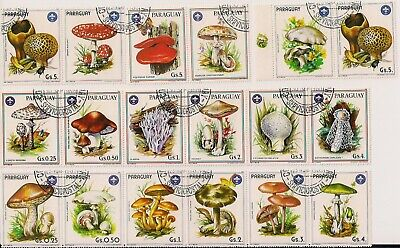 Paraguay 1985 and 1986 - Mushrooms - 15 used stamps