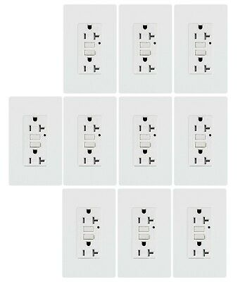 GFCI outlet 20A Self testing Tamper-Resistant Receptacle Wallplate White 10pack