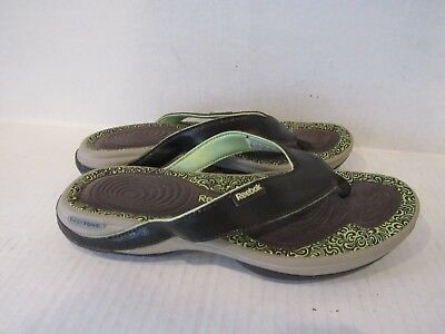 0ffdb1187400 Reebok Women s Easy Tone Brown Green Flip Flop Sandals Size 8