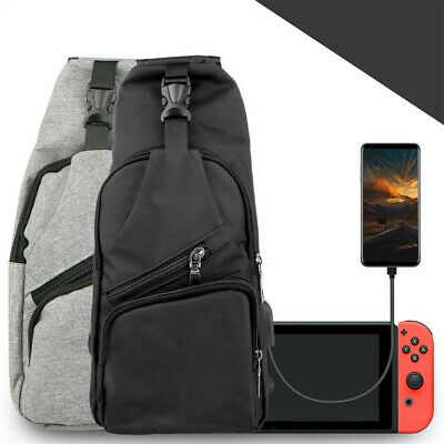 For Nintendo Switch Backpack Travel Bag Protective Carrying Case w/ USB Charging