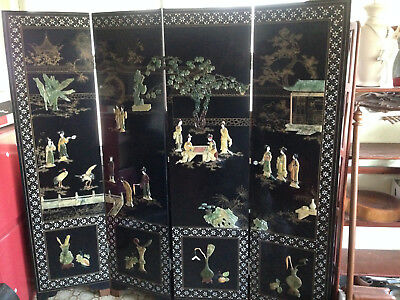 Vintage Beautifully Ornate Elm-wood Chinese Room Divider Screen, Four Panels Inl