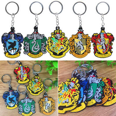 New Harry Potter Rubber Keyring Key Chain Official Hogwarts Houses Crest 2019