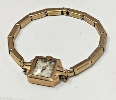 Crawford Ladies Watch 14K Solid Rose or Yellow Gold Antique / Vintage Jewelry