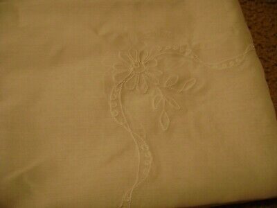 """Fabric Tablecloth ...White w/Embroidered Floral...50"""" x 50"""""""