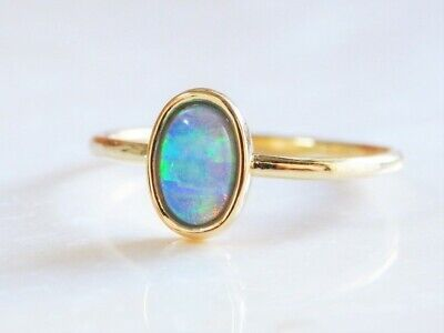 Gorgeous Yellow Gold Filled Fire Opal Women Party Cocktail Rings Size 6-10