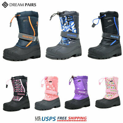 DREAM PAIRS Kids Girls Boys Winter Snow Boots Warm Waterproof Anti-Slip Shoes
