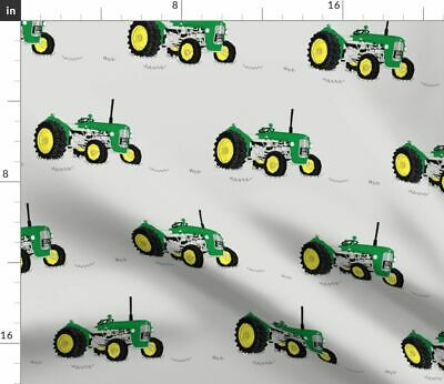 Tractor Farm Farming Green John Deere Vintage Fabric Printed by Spoonflower BTY