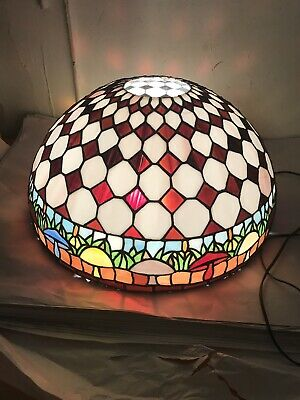 Vintage Leaded Glass Dome Hanging Lamp/ Mushroom Theme/for Restortation