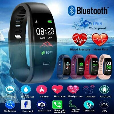 Smart Watch Bracelet Sleep Blood Pressure Heart Rate Monitor IP68 Waterproof 30M