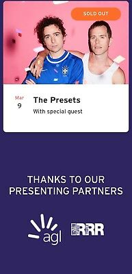 The Presets Concert Tickets Sold out Melbourne Zoo $140 Each