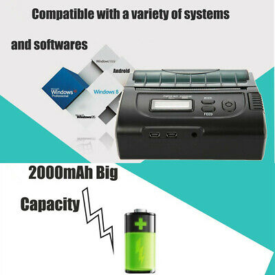 1 x ZJ-8002 80mm Bluetooth Mini Thermal POS Printer ESC Rechargeable Portable EU
