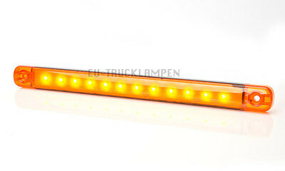 LED UMRISSLEUCHTE 238mm LANG! GELB 12 LED - UNI 12/24 VOLT SUPER FLACHE 10,4mm