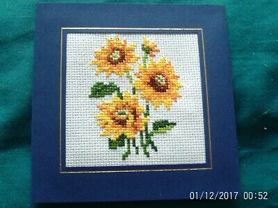 completed cross stitch  card  Sunflowers