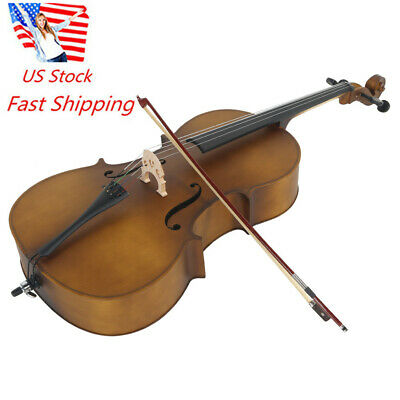US 4/4 Matte Golden Adults Professional Acoustic Basswood Cello Case Bow Rosin