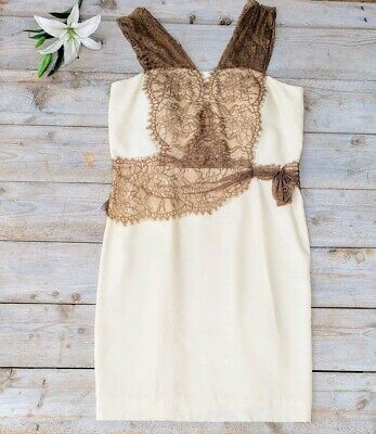 aaa44824878 ANTONIO MELANI CREAM and Mocha Lace Dress NWT -  46.00