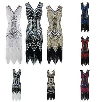 Gatsby Fancy Womens Flapper Dress 1920s Retro Style Beaded Sequined Deco Fringe