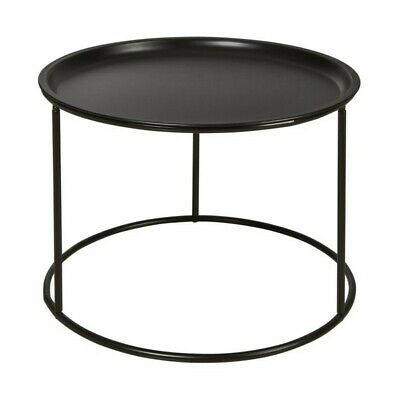 Sergio Table Basse Rondes Style Contemporain Metal Noir L 56 X L 56 Cm