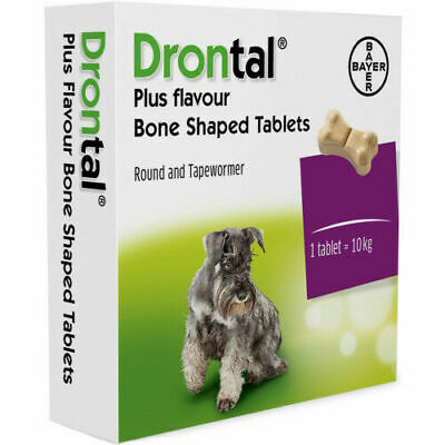 Drontal Plus flavored wormer for dogs puppies Bayer  Made in Germany 6 tablets