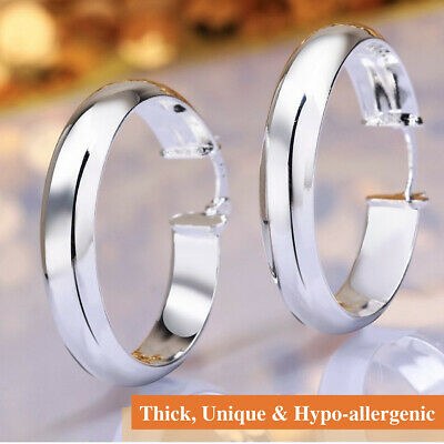 925 Sterling Silver Plated Thick Unique Circle Smooth Round Shaped Hoop Earrings