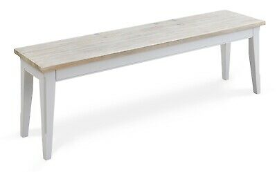 Painted Grey Dining Bench Solid Wood Grey Base With Distressed Limed Top - 150cm