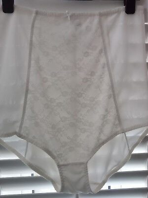 "IVORY Panties Sz 24 XXL SHAPELY KNICKERS Sheer Mesh Directoire~42"" Vtg Femme"