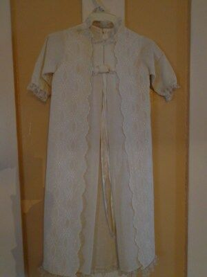 VINTAGE Christening Gown DRESS Baby Girl Baptism HOLIDAY ANTIQUE Beige w/bonnet