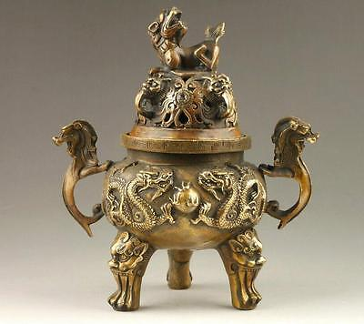 Chinese Old Hand-Made Dragon Statues & Lion Lid Bronze Incense Burner