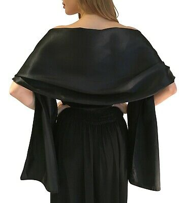 Black Satin Shawl Stole Pashmina Scarf Bridal Wedding Wrap Bridesmaids S-M L-XL