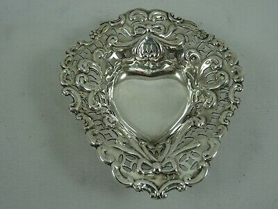 PRETTY solid silver HEART shaped TRINKET DISH, 1902, 23gm