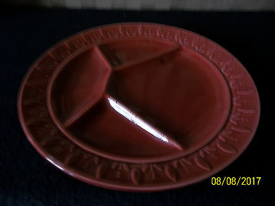 Red pottery sectioned hors deuvres/canape's  dish