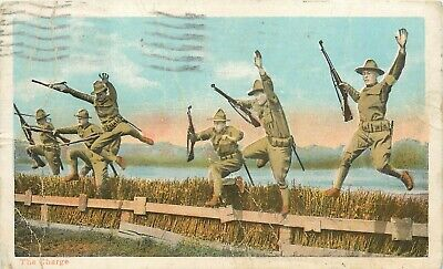 The Charge WWI World War I Soldiers Hurdle Jumping US Army pm 1917 Postcard
