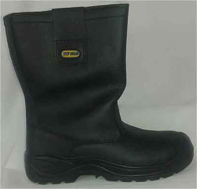 Men Woman Black Safety Rigger Boot Steel Toe Midsole Heat Resistant Size 4-11UK