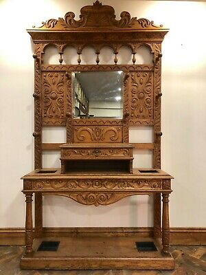 Heavily Carved Victorian Light Oak Hat and Coat Hall Stand - Delivery Available