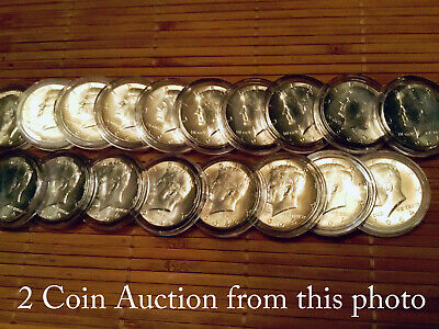 2 1964 BU Kennedy Halves from an Uncirculated Bank Roll in Holders $1 Face Value