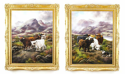 Antique Pair Paintings of Scottish Country Scenes Frank Stafford 19thC 112x92cm