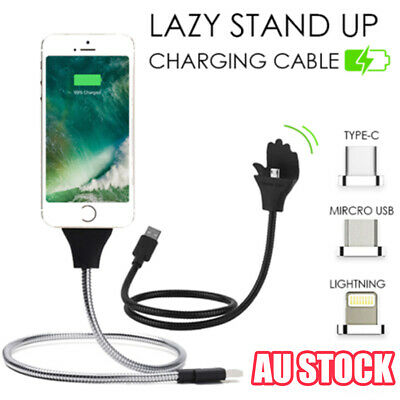 Lazy Stand Up Charging Cable Flexible Phone Holder Bracket USB Charger iPhone UE