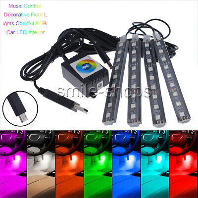 4x9 LED RGB Car Interior Atmosphere Footwell Strip Light USB Charger APP Control