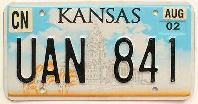 """Kansas 2002 """"State Capitol Building"""" License Plate, UAN 841, Cheyenne County"""