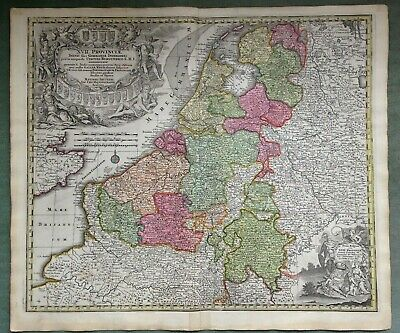 NETHERLANDS BELGIUM Matheus SEUTTER c. 1730 LARGE NICE ANTIQUE ENGRAVED MAP