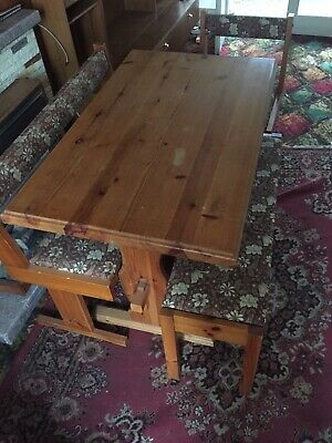 Outstanding Vintage Retro Pine Dining Table With Benches And Chair 1970S Cjindustries Chair Design For Home Cjindustriesco