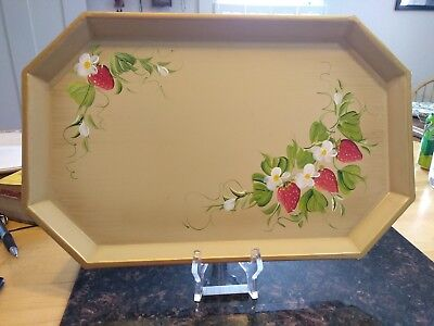 Nashco Products-New York- Vintage Hand Painted Metal Serving Tray Strawberry Des