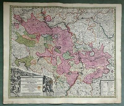 GERMANY PALATINATE Matheus SEUTTER c. 1730 LARGE NICE ANTIQUE ENGRAVED MAP